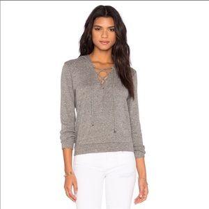 Lanston   Grey Lace Up Hooded Sweatshirt